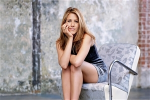 Actress Jennifer Aniston on Chair