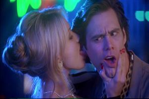Lady Doing Kiss on Jim Carrey Face