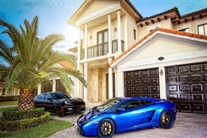 Blue Lamborghini Mansion HD Car Photos
