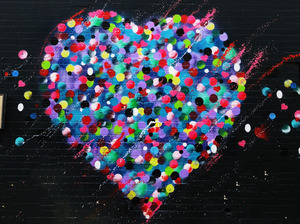 Colorful Heart Art in Wall