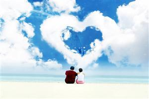 Couple Looking Cloud Heart
