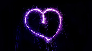 Create Purple Heart Using Firework in Night