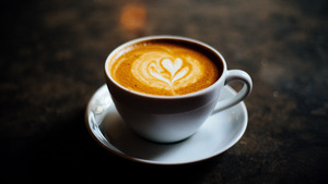 Heart in Coffee Cup Superb 5K Wallpaper