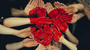 People Painted Hands Create Red Love Heart 5K Wallpaper