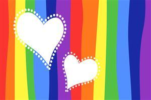 Two Hearts in Rainbow Background