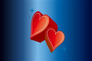 Two Red Heart in Blue Background