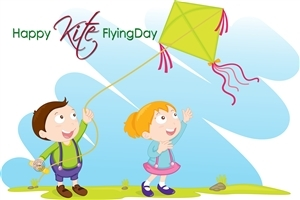 Happy Makar Sankranti Colorful Flying Kites Festival Photo