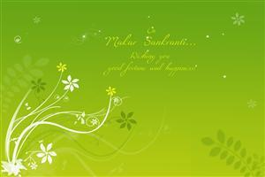 Makar Sankranti Wish in Green Background