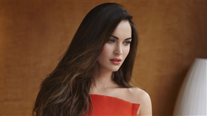 Cute Megan Fox in Red 4K Wallpaper