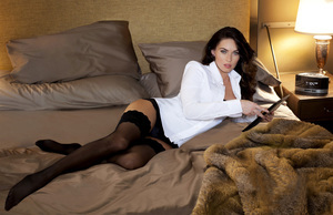 Sexy Look of Megan Fox on Bed Photo