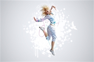 Beautiful Dancing Girl with White Cloths High Quality Wallpapers