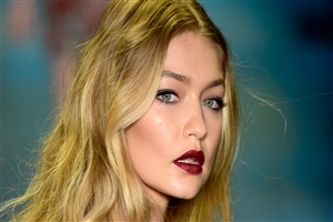 Beautiful Gigi Hadid with Red Lips HD Wallpaper