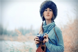 Girl on Winter Season with Camera Wallpapers