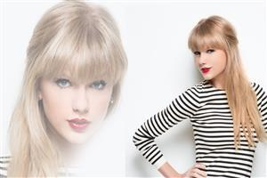 Taylor Swift in Black and White Tshirt with Red Lipstisk