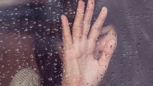 Girl Hand on Rainy Drops Window Glass HD Pics