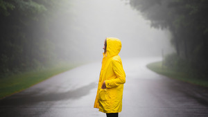 Girl with Raincoat in Rain 5K Wallpapers