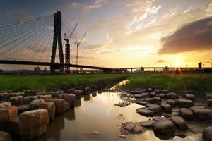 Industrial Nature Landscape Wallpaper