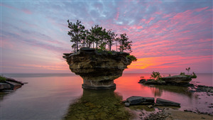 Lovely Wallpaper of Rock Tree and Sunset Nature in Michigan State of US