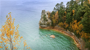 Pictured Rocks National Lakeshore in Michigan US State Nature 5K Wallpaper