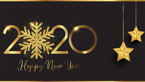 2020 Happy New Year Golden 4K Wallpaper