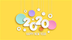 2020 Happy New Year Yellow Background Wallpaper