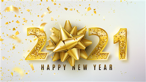 2021 Happy New Year 3D 4K Wallpaper