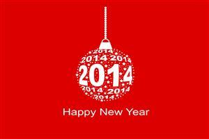 Happy New Year 2014 Red Christmas Background Wallpapers