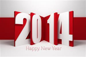 Happy New Year 2014 in Red Image Download