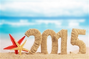 Happy New Year 2015 on Beach HD Photos