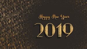 Happy New Year 2019 Black and Gold 4K Background Wallpaper