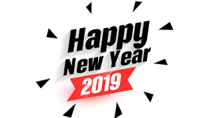 Happy New Year 2019 Black and White 5K Background Wallpaper