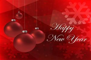 Happy New Year Red Background Wallpaper