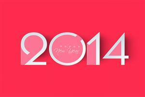 Happy New Year Wish for 2014 in Pink Background