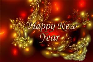 Happy New Year in Red and Golden Background