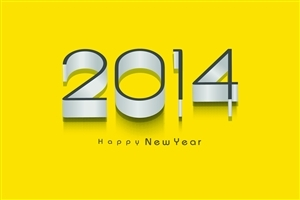 Holiday Happy New Year 2014 Photos in Yellow Background