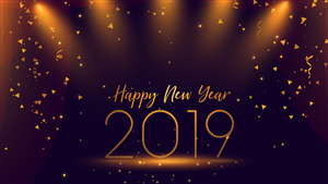 New Year 2019 5K Lighting Background Wallpaper