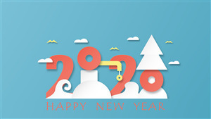 Super Happy New Year 2020 5K Wallpaper