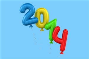 Welcome Happy New Year 2014 in Balloons Images Wallpaper
