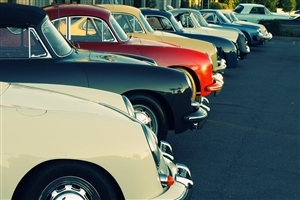 Vintage and Classic Cars in Row Images