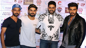 Actor Abhishek Bachchan and Arjun Kapoor with Cricket Star Virat Kohli and Ajinkya Rahane