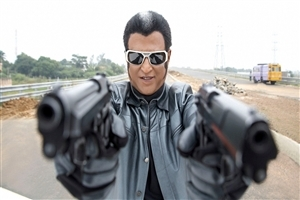 Rajnikant with Gun and in Black Goggles Movie Endhiran Photos