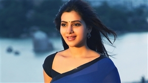 Actress Samantha in Blue Saree