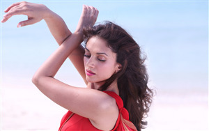 Aditi Rao Hydari in Red Dress Wallpaper