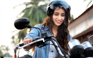 Shraddha Kapoor on Bike Wallpaper