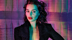 Actress Emilia Clarke in Black Photo