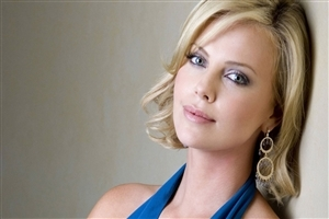 Beautiful Pink Cheek of Charlize Theron South African and American Actress Photo