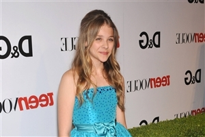Chloe Moretz Actress in Sky Blue Dress HD Wallpapers