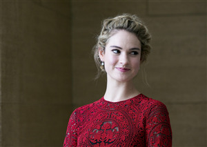 Cute Lily James Actress in Red