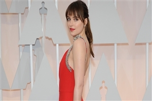 Dakota Johnson in Red Dress Wallpaper