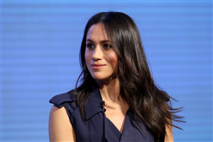 Meghan Markle in Blue Dress 5K Wallpapers